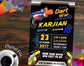 Nerf Invitations,Nerf Birthday,Nerf Party,Nerf Birthday Invitations,Nerf Printable,Nerf Invite,Nerf Birthday Party,Nerf Invites-F0030