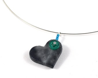 Black Love Heart Ceramic Necklace on memory wire with Upcycled Button and Blue Seed Beads Valentines Jewelry