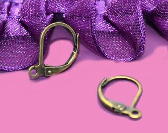 Sleepers bronze dangle earrings 10x15mm