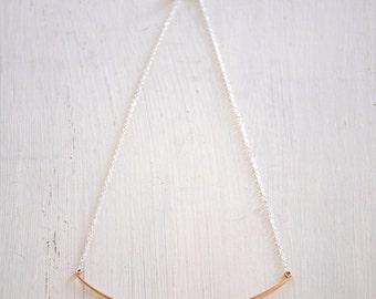 14k Gold Filled Hammered Bar Necklace