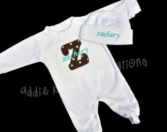 Personalized Baby Sleeper and Beanie Hat Combo with Name and Applique Initial / Girl or Boy Colors