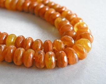 orange czech glass beads, yellow orange czech rondele beads, 6mm by 4mm, 50 beads