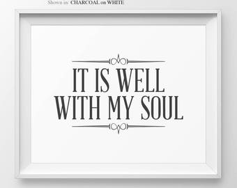 It Is Well With My Soul Hymn Print Bible Verse Wall Art Christian Wall Decor Religious Home Decor Faith Quotes Hymn Wall Art Hymns & Verses