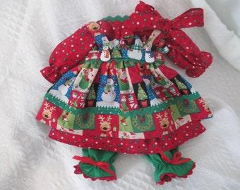 Handmade 4 pc Christmas Raggedy Ann dress made by Jodi Lynn