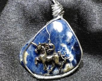 Sodalite Pendant with Unicorn Charm