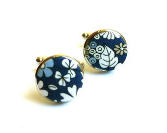June's meadow blue support liberty fabric cufflinks gold or silver option