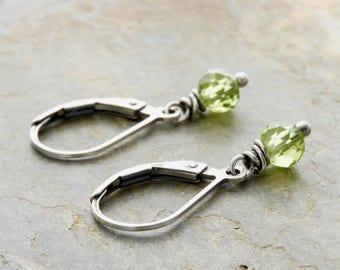 August Birthday Earrings - Green Gemstone Earrings - Lightweight Peridot Earrings - Sterling Silver - Lever Back Ear Wires - #4910