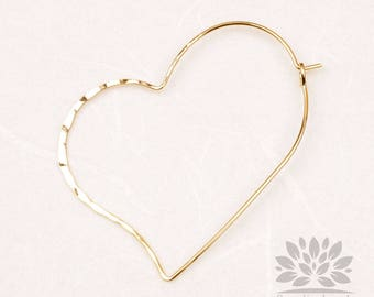 A357-01-G// Glossy Gold Plated Half Hammered Heart Hook, 4pcs