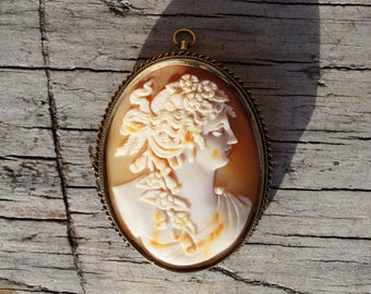 Victorian 14K Large Shell Cameo Brooch and Pendant