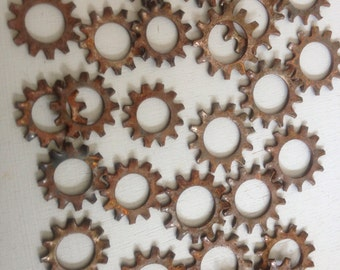 Rusty Metal Washers Recycled DIY Industrial Assemblage Art Supply owl eyes Robot Parts primitive