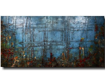 Large abstract painting, original art, industrial wall art blue painting,  JMJArtstudio, fathers day
