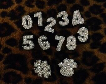 Rhinestone Number Paw print or # Number sign for Slide bracelet 8mm