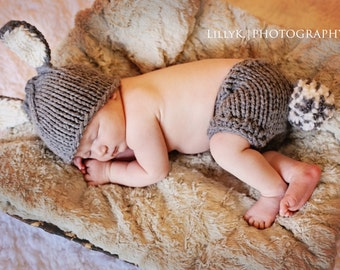 Bunny Hat and Diaper Cover SET, Bunny Hat with GREY and Off White Bunny Ears and Diaper Cover with Pompom Tail, Photography Prop