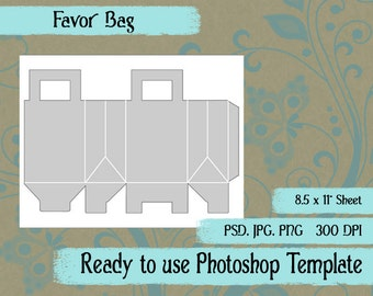 Party Favor Bag Digital Collage Photoshop Template