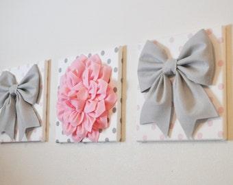 "Girl Nursery - Wall Decor - Large Gray Bows and Light Pink Dahlia on Polka Dot 12 x 12"" Canvases Pink and Gray Baby Nursery  Art"