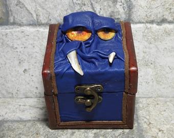 Desk Organizer Trinket Dice Mimic Box Small Storage Treasure Chest Stash Blue Leather Gamer MTG Card Box 258