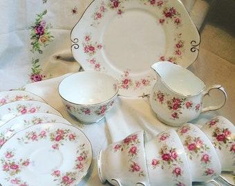 Duchess 'June Bouquet' beautiful floral Teaset For Four (11 Pieces)