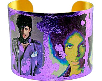 Photo Cuff, Gold Leaf Jewelry, Altered Art Jewelry, Hand Gilded Special Edition Purple Foil Prince Collage