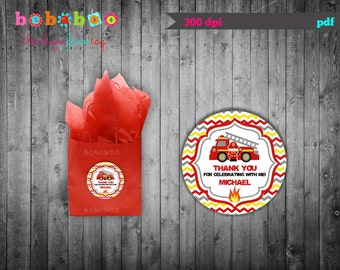 Firetruck Thank You Tag / Firetruck Birthday Party / Firetruck / Thank You Tag / Birthday Party Digital Printable / Favor Tag Birthday Part