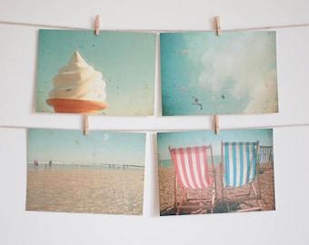 Postcard Set, Beach Photography, Seaside Art, Bird Photo, Deck Chairs, Affordable Art - The Sea