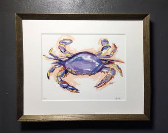 Signed & Numbered Print of Blue Crab Painting - LIMITED EDITION