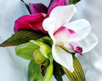 TROPICAL HAIR CLIP, Silk flowers, Tropical flowers, Bridal Headpiece, Custom Hair clip, Wedding Hair clip, Hawaiian flower clip, Fascinator