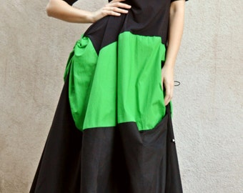 Extravagant Maxi Dress TDK162, Black and Green Plus Size Dress, Long Summer Dress with Short Sleeves