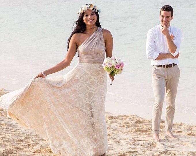 Lace Bohemian Bride Long Infinity Wrap Dress-Custom choose your Fabrics- Wedding Gown, Bridesmaids, Maternity, Etc.