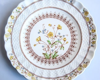 Vintage Copeland Spode Dessert / Salad / Display Plate ~ Buttercup & Basket Weave ~ Made in England ~ English China ~ Country Kitchen