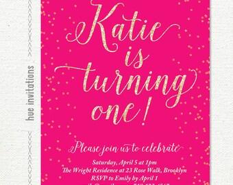 hot pink first birthday invitation, digital glitter girls 1st birthday invite, girly party printable file jpg or pdf 279