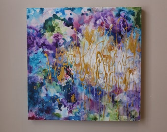 purple,blue,navy, dark blue, indigo blue abstract,gold painting,gold abstract,modean ,Acrylic painting