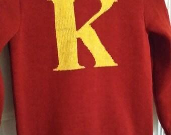 "Handmade knitted ""initial"" jumper"