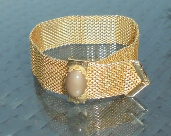 Celebrity NY Gold Tone Mesh Bracelet Strap Style Adjustable Length with Fold Over Fastening with Cabochon Detail Signed Costume Jewellery