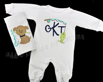 Personalized Fishing Themed Baby Sleeper and Bib OR Burpcloth Combo