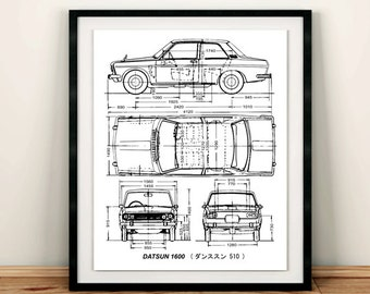 Datsun 1600 Blueprint, Datsun 510, Blueprint Art, Blueprints, Garage Art, Printable Automotive Decor, Instant Download, Datsun, 8x10, 14x11""