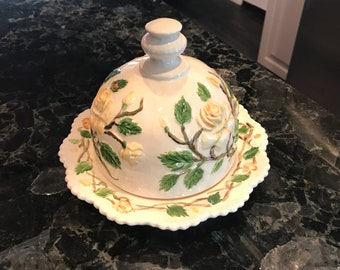 Vintage Butter Dome Dish Raised Yellow Rose Design, Rare 1950's Cheese Server, Hand Painted Ceramic, Item #614630423