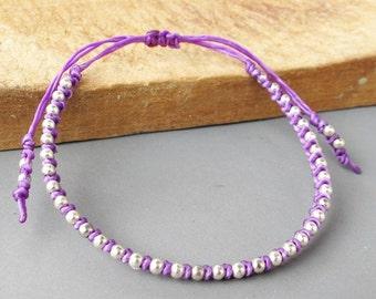 Purple Friendship Bracelet with Bead