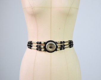 1980s leather belt with gold and black beads / size medium - large / deorative belt / 80s leather belt