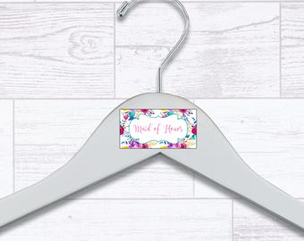 Floral Maid of Honor Wooden Hanger - Wedding Hangers - Bridal Hanger - Maid of Honor Gift - Wedding Gift - Wedding Supplies - HNGR0044