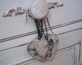 SOLD SOLD SOLD Four Aged Shabby Cherubs Wedding Christening Christmas Decoupaged Heart Wooden Plaques