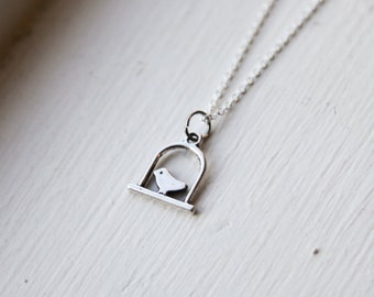 Bird Cage Necklace- 925 Sterling Silveror Silver Tone Chain and Bird on a Perch -Modern Style Jewlery