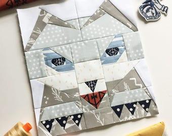 """Totem Wolf #22 Block PDF Paper Piecing Pattern 4"""" x 9.5"""" or 8"""" x 19"""" finished"""