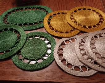 Vintage Set of 8 Straw Hemp Trivets Hot Pads 1970s Made in Philippines