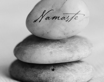 Namaste Poster, Yoga Wall Art Print, Gratitude Stone Art,  Zen Decor, Meditation Art, Gratitude Stone, Spirituality Print, Inspirational Art