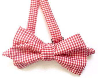 Red gingham bow tie, Vintage red bow tie, Bow Tie, Red Bow Ties, Gingham Bow Tie, Red gingham Tie, Gingham Tie, Red Bow Tie, Tie, Red tie