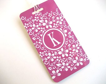 Luggage Tag - Family 4-pack Hot Pink Flower Custom Monogram Luggage Tag- Travel Accessories - Personalized Luggage Tag - Hot Pink Travel Tag