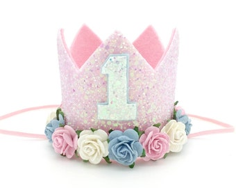 1st birthday crown | birthday party hat | birthday photo shoot | gold birthday hat | cake smash photo prop | baby pink baby blue