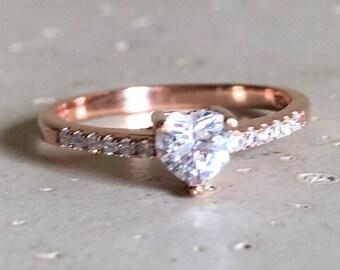 Rose Gold Heart Ring- Rose Gold Promise Ring- Heart Shape Engagement Ring- Heart Anniversary Ring- Valentine Day Ring- Bohemian Love Ring