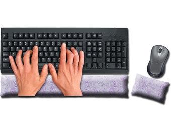 Keyboard and Mouse Ergonomic Wrist Rest Pad Set Handmade - Desktop Laptop - Flax Seed Fill Optional Scent - Satin / Velvet - Lovely Lilac