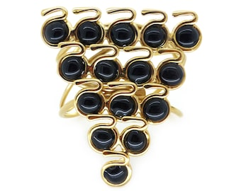 Contemporary Gripoix Gold Plated Black Poured Glass Snake Cuff Bangle